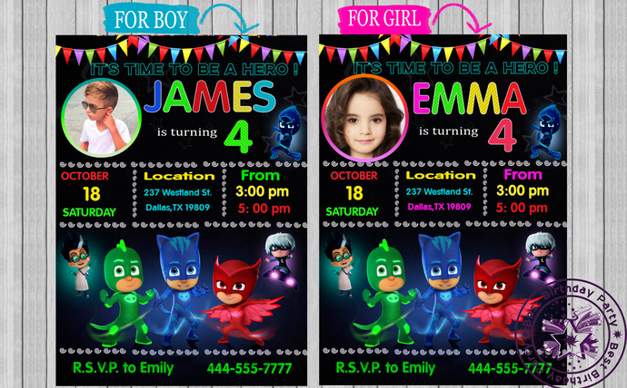 Pj Mask Birthday Invitation Masks Invitations