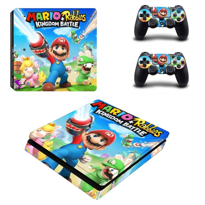 Mario Rabbids Kingdom Battle ps4 slim skin decal for console and controllers