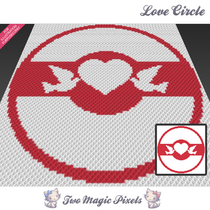 Love Circle Crochet Blanket Pattern C2c By Twomagicpixels On Zibbet