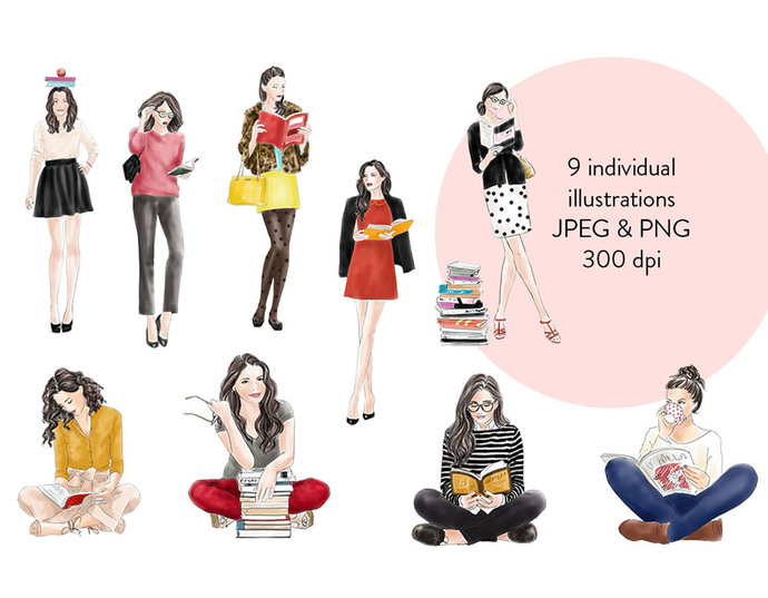 Watercolour fashion illustration clipart - Girls with Books - Light Skin