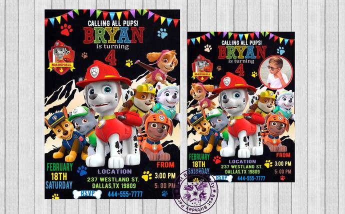 Paw Patrol Invitation Birthday