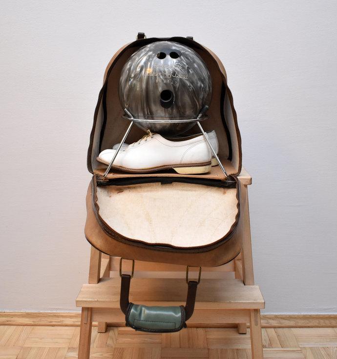 Vintage Bowling Bag Set - Original Leather Bag - Bowling Shoes - Bowling Ball -