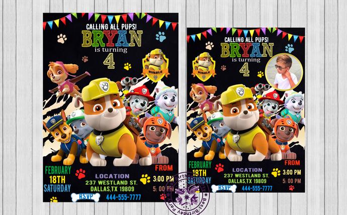Rubble birthday invitation, Paw patrol birthday invitation boy, Paw patrol