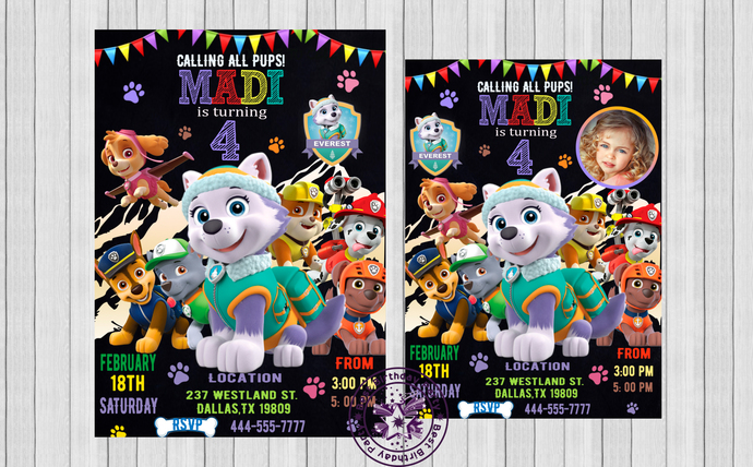 Paw Patrol Invitation Everest Party Invite Girl