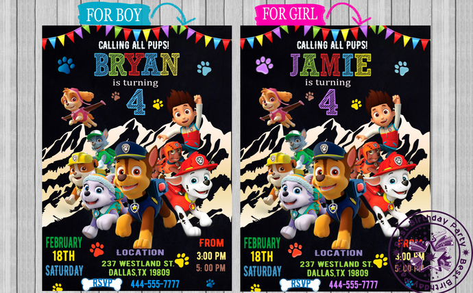 Paw Patrol Invitation Birthday Invite