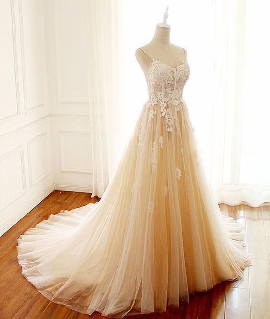 Romantic Wedding Dress,Appliques Wedding Dress,Spaghetti Straps Wedding
