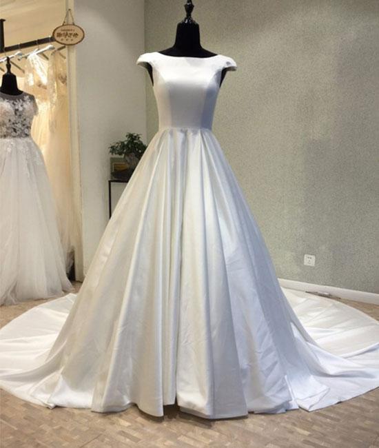 Romantic Wedding Dress,Satin Wedding Dress,Backless Wedding Dress,Noble Prom