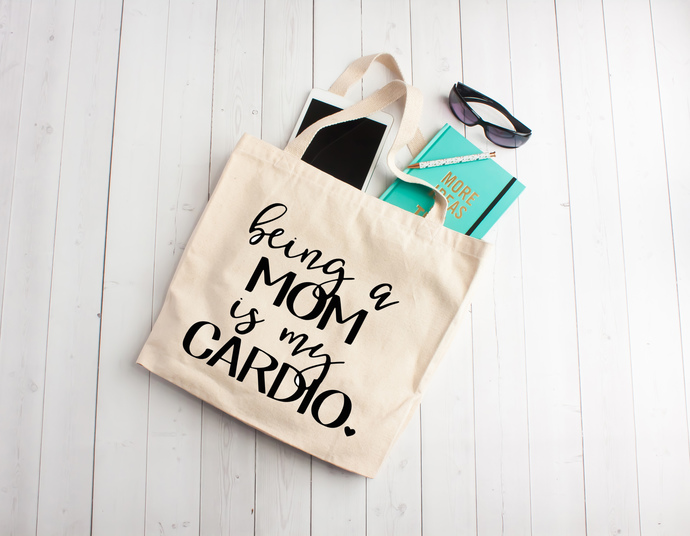 Being a mom is my cardio, Custom tote bags, personalized tote bags, cotton book