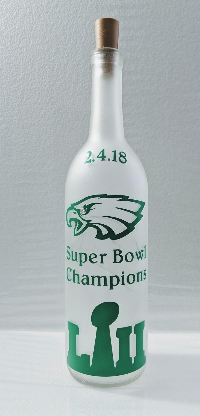 Eagles Super Bowl light bottle.