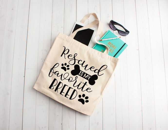 Rescued is my favorite breed, pets, dog totes, dog lovers, Custom tote bags,