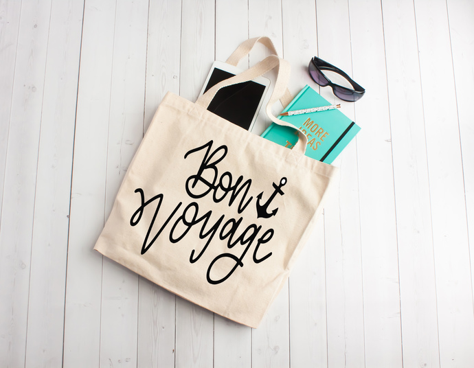 Bon Voyage, Bon voyage tote bag, birthday gift bags, cruise, vacation bags,