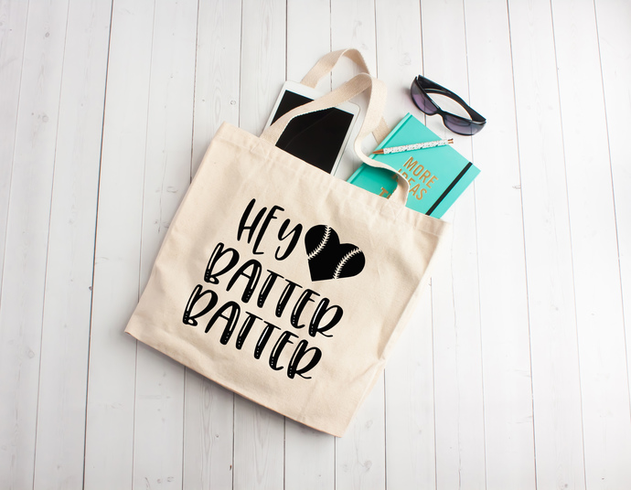 Hey batter batter, baseball, baseball bag, baseball mom, softball bag, totes