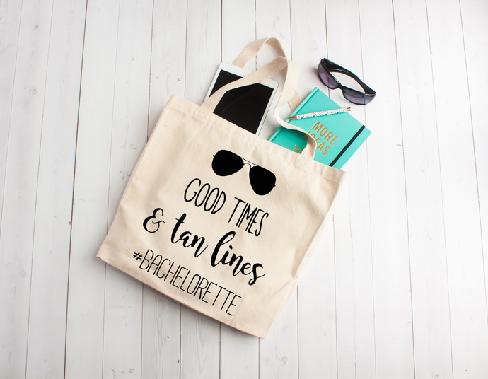 Good times and tan lines, beach totes, personalized totes bags, totes with