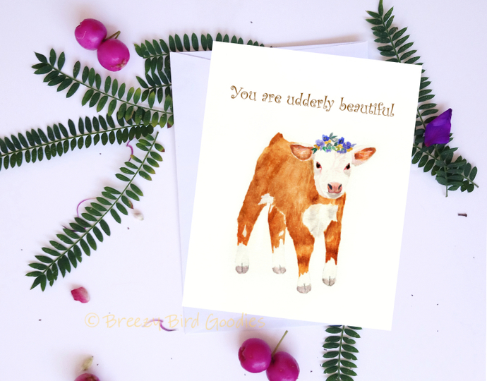 "Hereford Cow Card, ""You are udderly beautiful"", Funny Animal Card, Cow Flower"