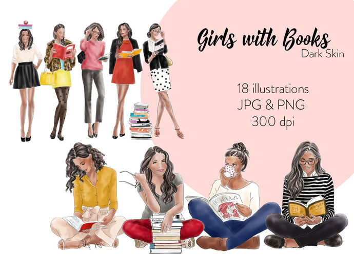 Watercolour fashion illustration clipart - Girls with Books - Dark Skin