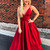 Simple Straps A-line Red Long Prom Dresses