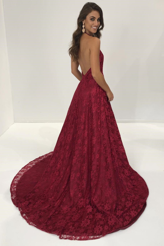 c41b6f686ba Sexy Halter Wine Red Lace Long Formal Evening by prom dresses on
