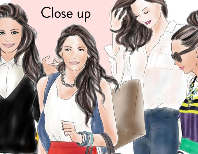 Watercolour fashion illustration clipart - Shopping Girls - Light Skin