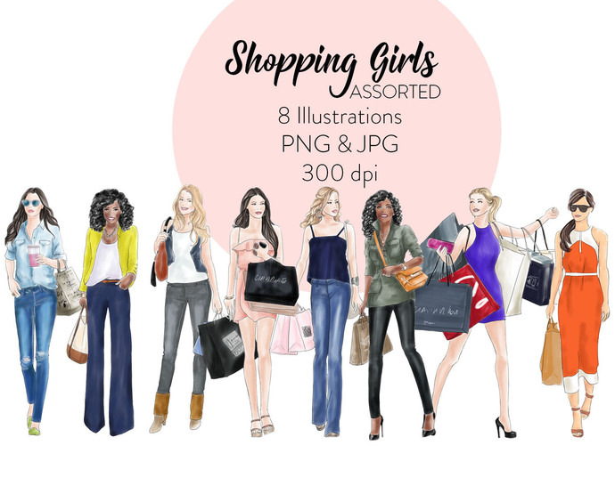 Watercolour fashion illustration clipart - Shopping girls 2