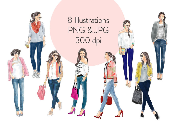 Watercolour fashion illustration clipart - Girls in Jeans