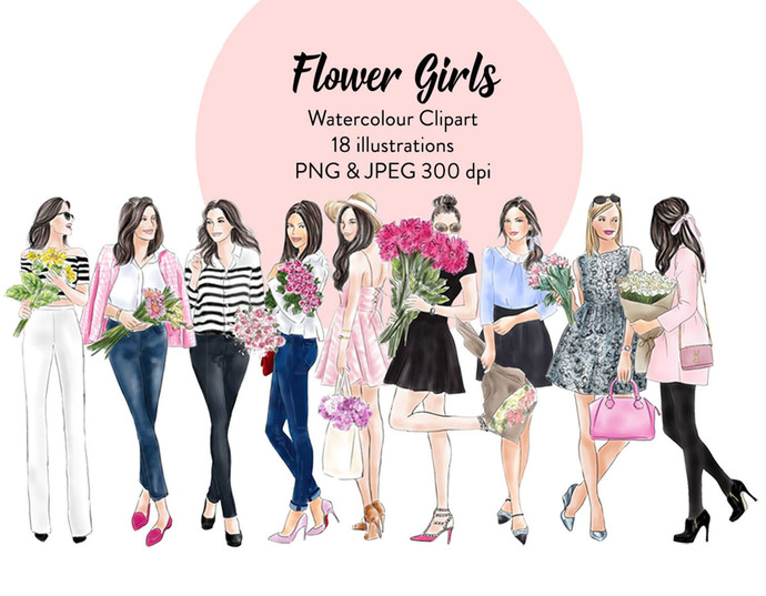 Watercolour fashion illustration clipart - Flower girls - Light Skin