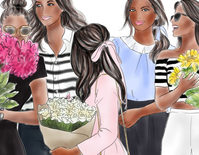 Watercolour fashion illustration clipart - Flower Girls - Dark Skin