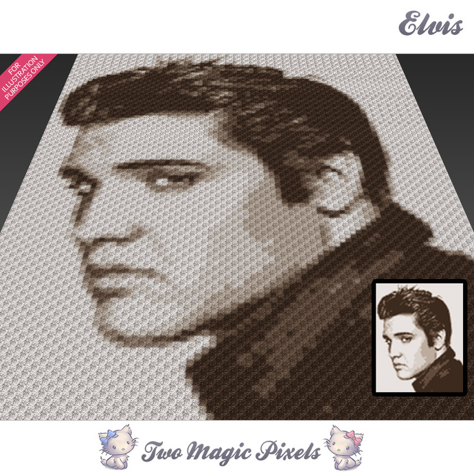 Elvis crochet blanket pattern; knitting, cross stitch graph; pdf download;