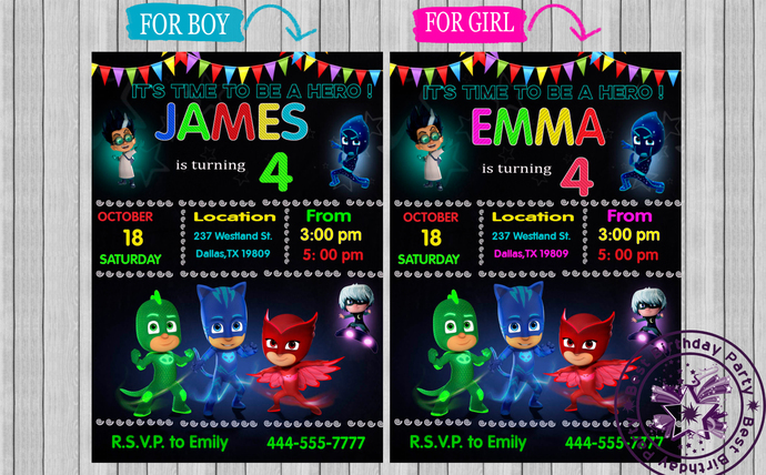 Pj Masks Birthday Invitations With