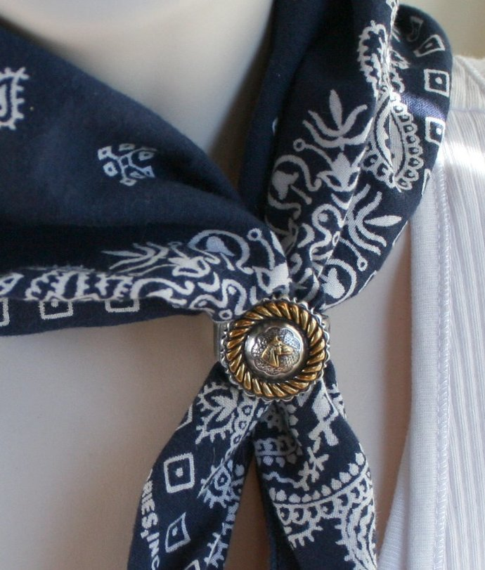 Cowgirl Concho Horse Statement Ring, Cowgirl Horse Concho Scarf Slide, Gold Rope
