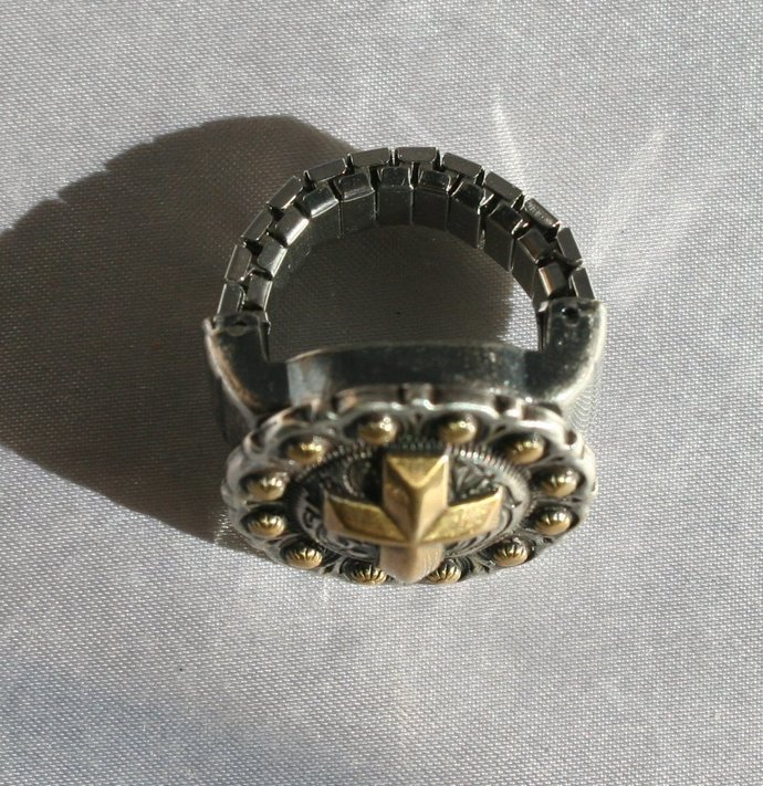 Cowgirl Concho Ring, Cowgirl Concho Scarf Slide, Berry Gold Cross Concho Ring,
