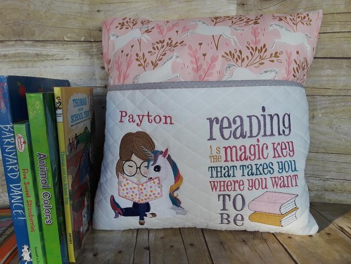 Unicorn Reading Pillow, Book Pillow, Pocket Pillow, Girls Reading Pillow, Gift