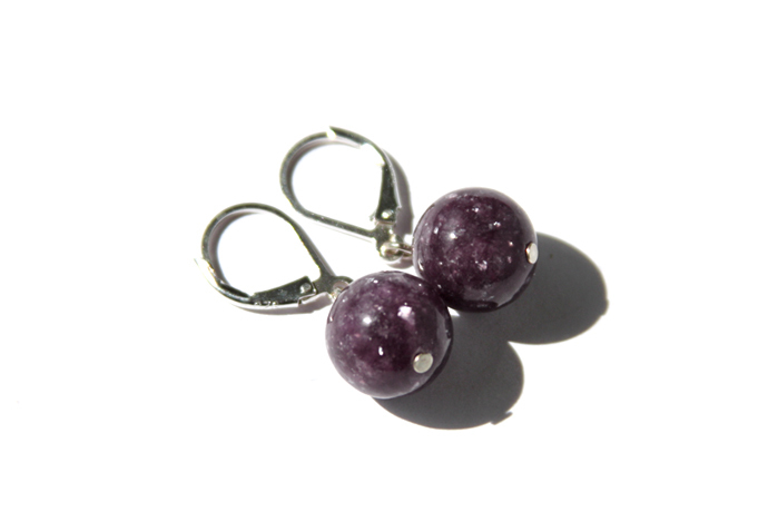 Lepidolite Sterling Earrings Dark Purple Natural Stone Plum Berry Eggplant