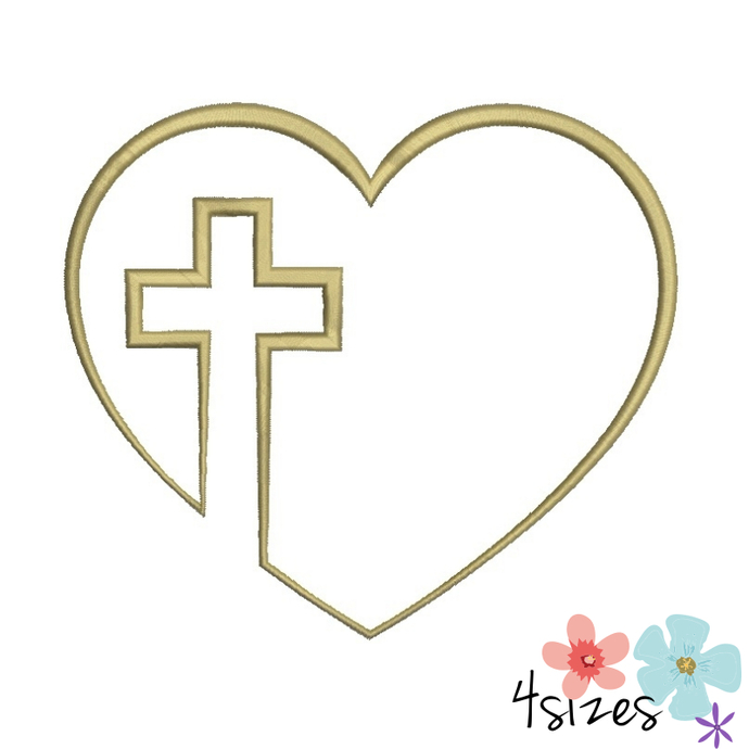 Heart Cross Machine Embroidery Design By Gretaembroidery