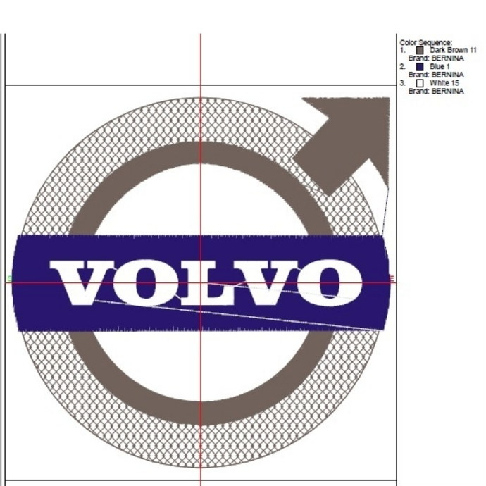 Volvo Embroidery Machine Designs logo pes file in the hoop car pattern