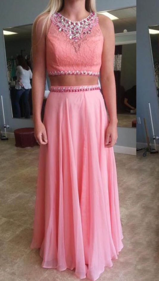 2e17f1b1059 Two piece Prom Dress,Pink Beautiful Prom Gown,Floor Length Prom Dresses