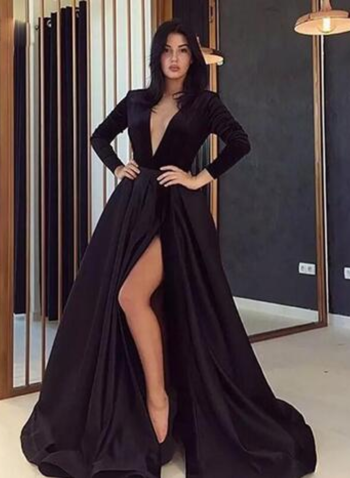 f82bc92e31d Black Satin Deep V Neck A-line Evening Dresses Long Sleeve Front High Side  Slit
