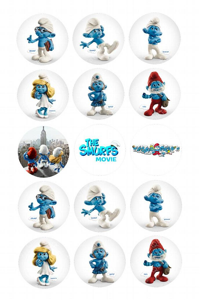 Smurfs Digital Image Collage 1 inch Circles