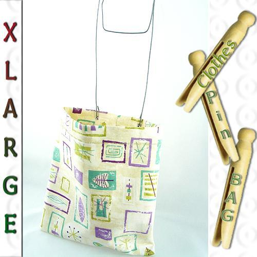 XL Sturdy Clothespin or Peg Bag Retro 50s design Green Nature or Ivory Fabric