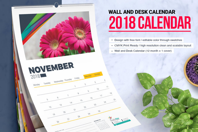 2018 wall and desk table calendar design indesign template