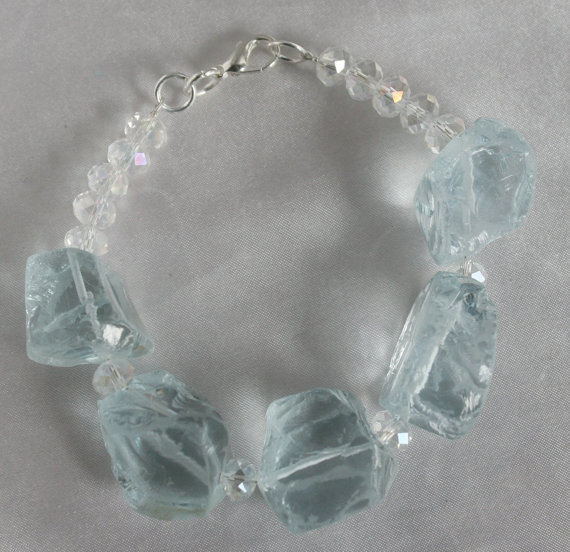 Rough Aquamarine Quartz Statement Bracelet, Chunky Crystal Nugget Jewelry, Bold
