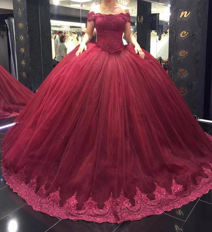 Cap Sleeve Appliques Ball Gown Prom Dress, by prom dresses on Zibbet