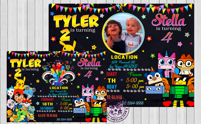 Twin birthday invitations custom by bestbirthdayparty on zibbet twin birthday invitations custom invitations double birthday invitation filmwisefo