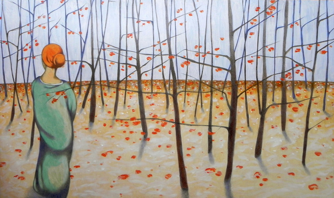 Original painting, oil and graphite on wood panel, large dimension. Winter