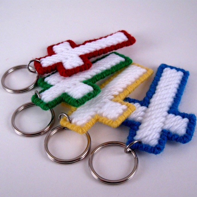 Plastic Canvas Cross Key Rings in Green Red Yellow Blue