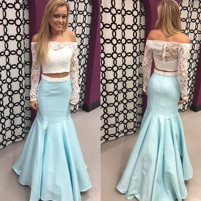 b41a8060830 Gorgeous Two Piece Off the Shoulder White Lace and Ice Blue Mermaid Long  Prom