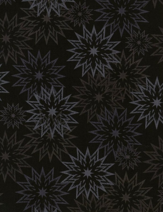 Cotton Quilt Fabric FOREVER Mist SNOWFLAKES Ebony Black