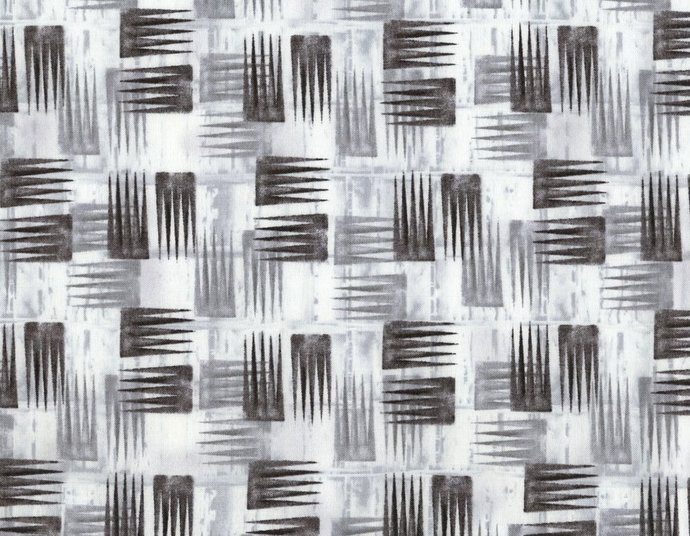 Cotton Quilt Fabric Stepping Stones Small Black White Shadow Geometric