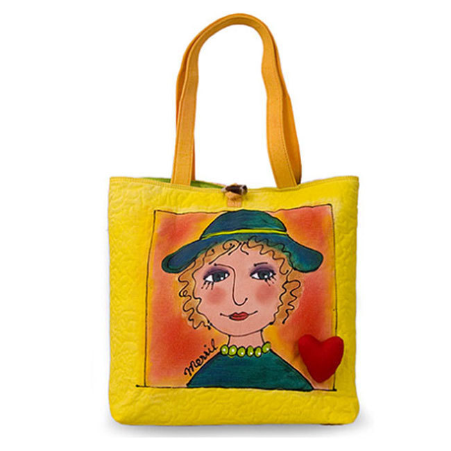 BrightFaces Hat 'n Heart Painted Shoulder Tote Bag - Large
