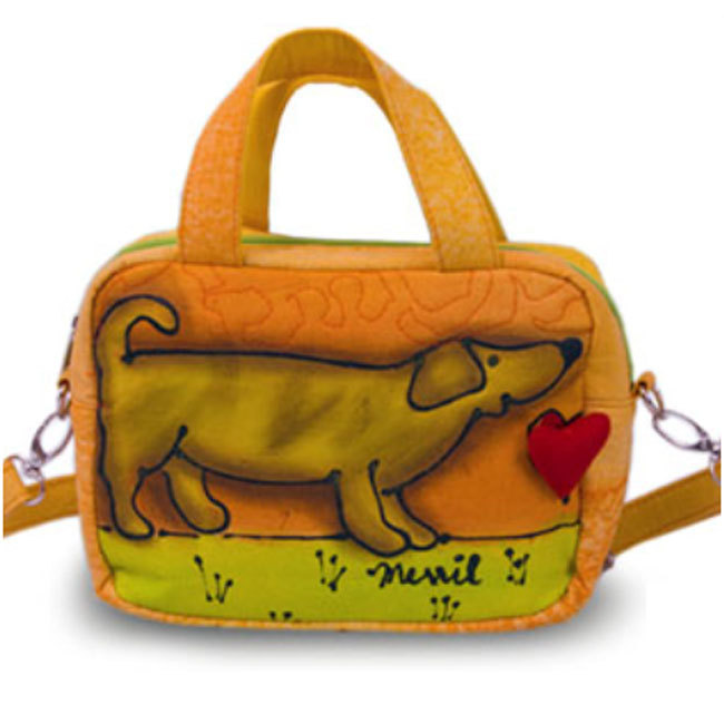 BrightWorld Puppy Painted Cotton Canvas Small Tote Bag