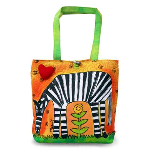 BrightWorld Zebra Hand Painted Cotton Canvas Tote Bag - Large
